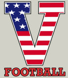 "2017 Unisex STARS & STRIPES ""V FOOTBALL"",Custom Athletic Heather Grey T-Shirt - Youth/ Adult Sizes"