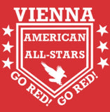 VIENNA AMERICAN Custom Embroidered Parent Swag 2 Button Jersey - Scarlet Red / White