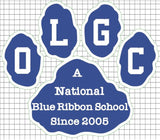"OLGC Vinyl Decal - ""OLGC A Blue Ribbon School Since 2005"""