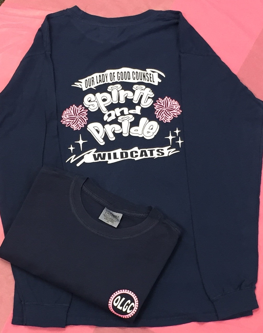 OLGC Custom Pink Spirit & Pride Designed Navy Long Sleeve Ring Spun Cotton Shirt