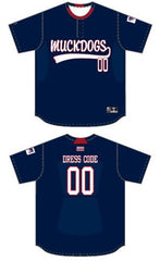 REQUIRED MUCKS Custom Sublimated Pin-Dot Performance 2 Button Jersey - Navy