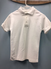 "S/S Interlock Unisex White ""OLGC"" Monogrammed Polo with Ribbed Cuff"