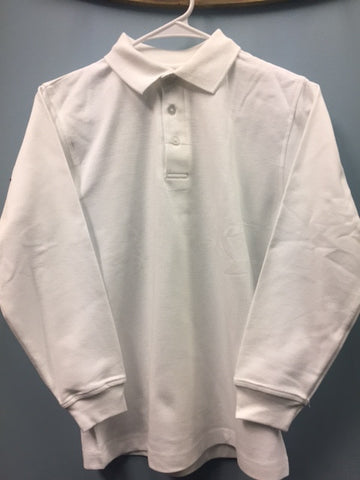 "L/S Interlock Unisex White ""OLGC"" Monogrammed Polo with Ribbed Cuff"