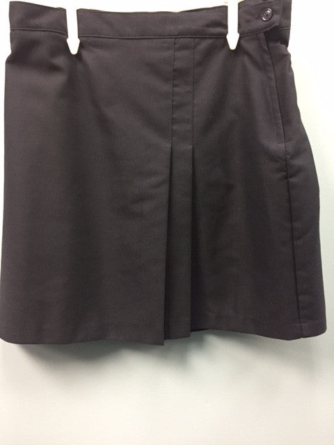 Regular Sizes-Navy 2 Pleat Skort Front & Back w/ Knit Short w/ Adjustable Waist