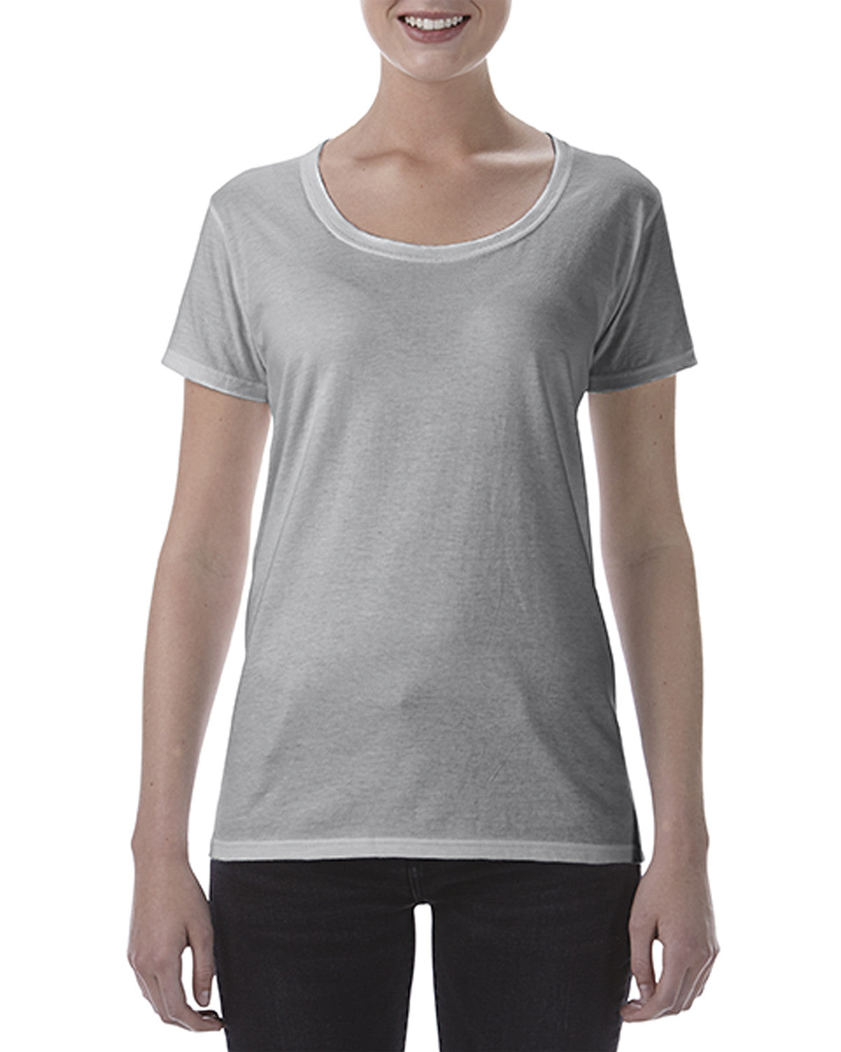 CH Gildan Ladies' Softstyle® 4.5 oz. Deep Scoop T-Shirt - Sport Grey