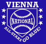 VIENNA NATIONAL Custom Embroidered Parent Swag 2 Button Jersey - Royal/ White