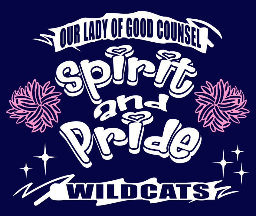 Short Sleeve Navy Blue OLGC Custom Pink Spirit & Pride Designed T-Shirt