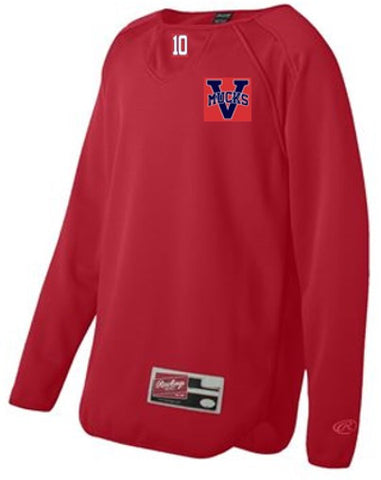 OPTIONAL MUCKS Rawlings Long Sleeve Flatback Mesh Fleece Pullover - Red