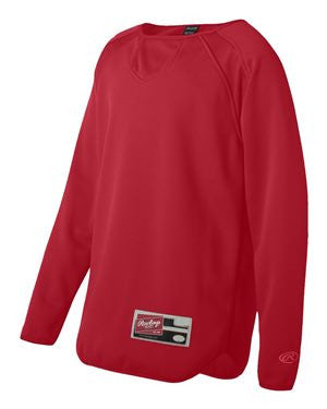 VLL Majors Twins - Rawlings Long Sleeve Flatback Mesh Fleece Pullover - Red
