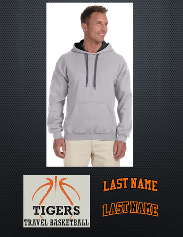 "Gildan Adult Heavy Blend™ 8 oz., 50/50 Contrast Hood - Includes ""TIGERS TRAVEL BASKETBALL"" on front and ""LAST NAME"" on back"