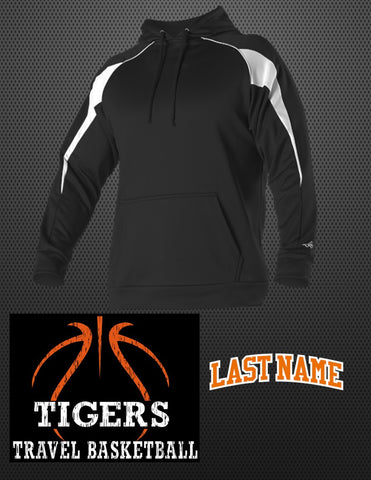 "TIGERS Game Day Hoodie - OPTIONAL, Includes ""TIGERS TRAVEL BASKETBALL"" on front and ""LAST NAME"" on back"