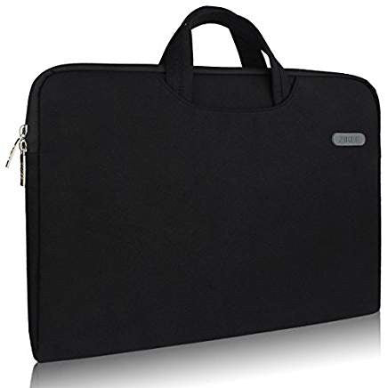 STS Embroidered Zikee Slim Briefcase Laptop Sleeve with Handle Carrying Case - Black