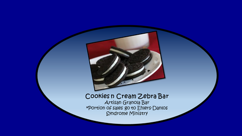 Cookies n Cream Zebra Bar for Ehlers-Danlos Syndrome Artisan Granola Bar 12-Pack