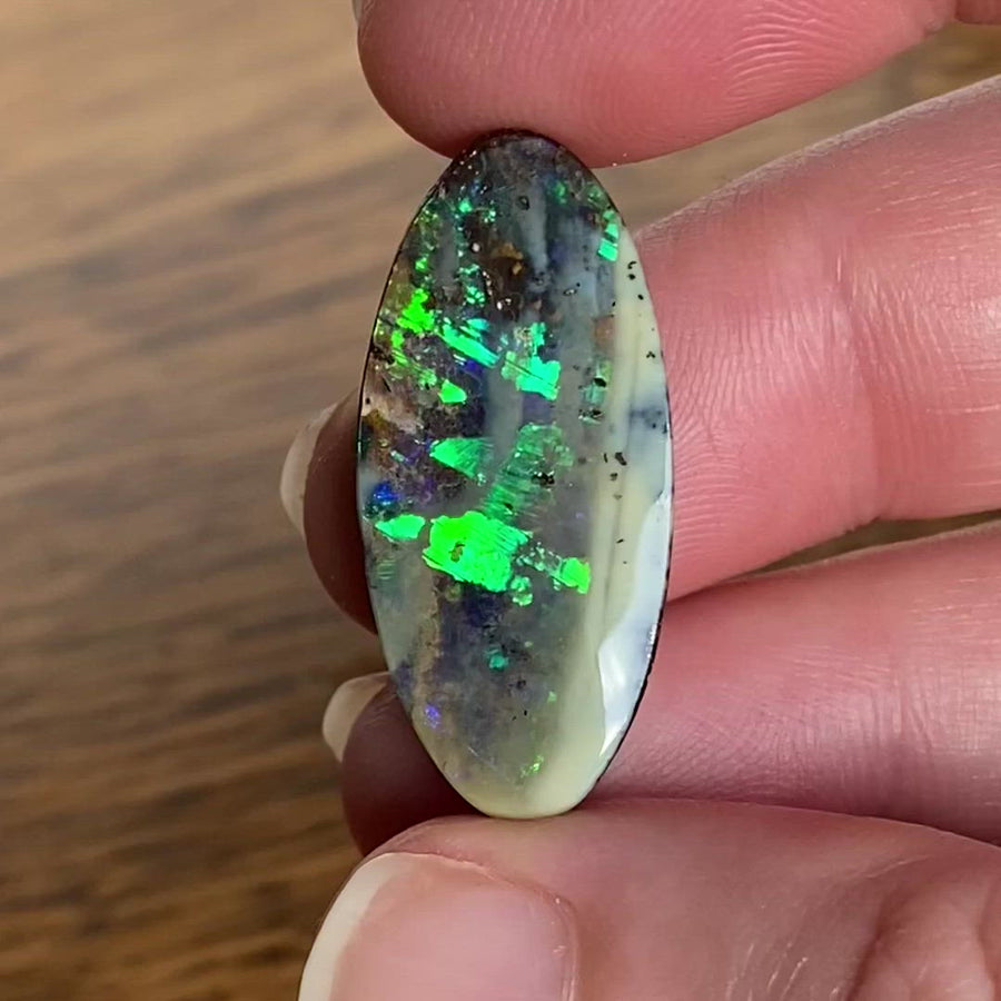 16.03 Ct green and purple boulder opal