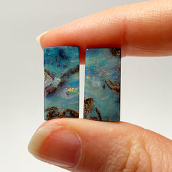 Australian Boulder Opal - 16.46 Ct rectangle boulder opal pair - Broken River Mining
