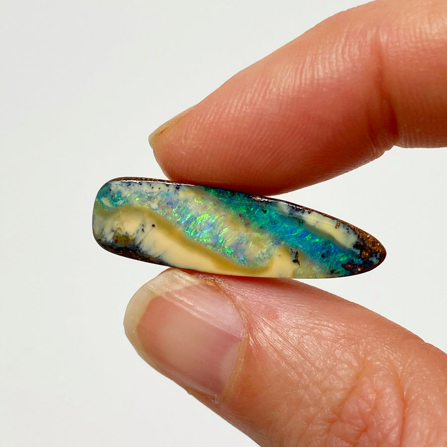 Australian Boulder Opal - 9.05 Ct light and dark green striped boulder opal - Broken River Mining
