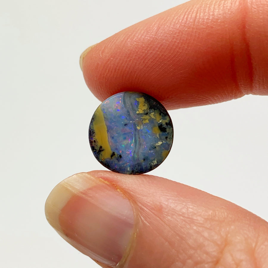 Australian Boulder Opal - 3.96 Ct small colourful circle boulder opal - Broken River Mining
