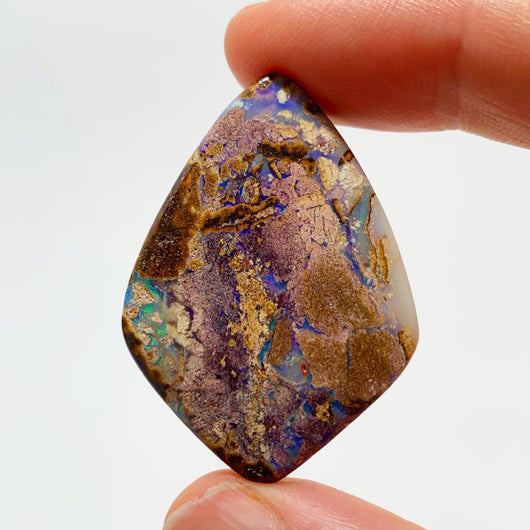 Australian Boulder Opal - 28.90 Ct light purple and green matrix boulder opal - Broken River Mining