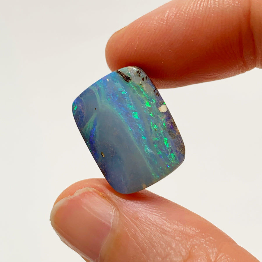 Australian Boulder Opal - 12.04 Ct striped green-blue boulder opal - Broken River Mining