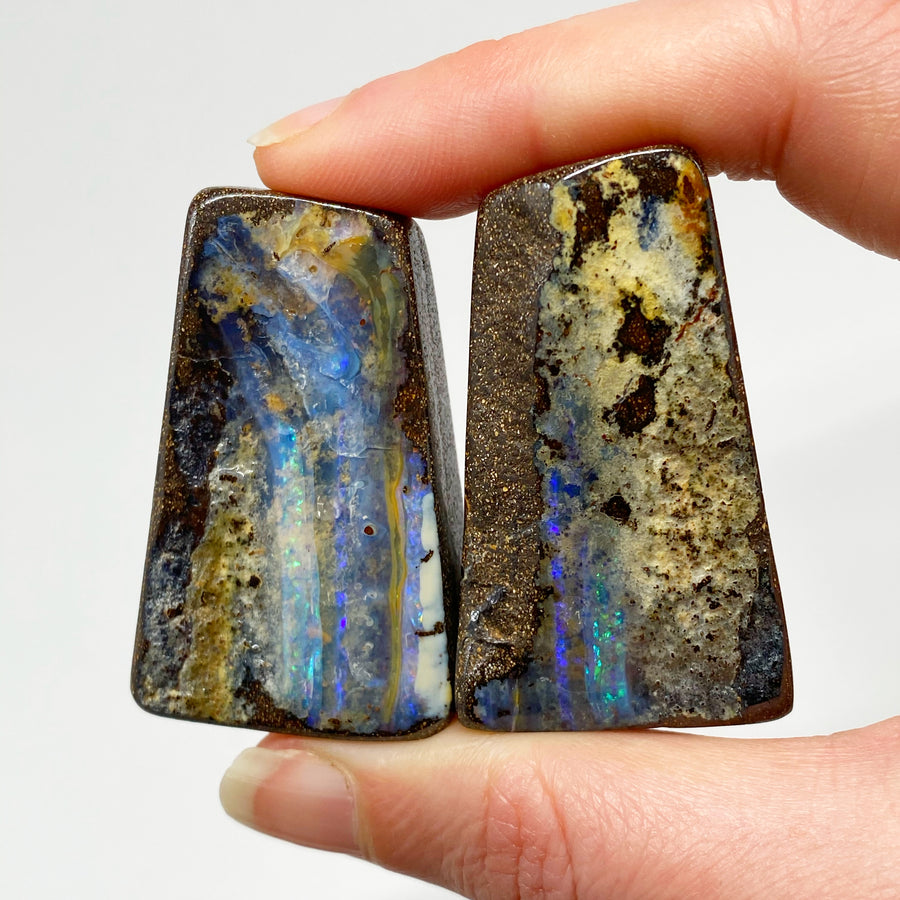 Australian Boulder Opal - 350 Ct green and blue boulder opal 'split' specimen pair - Broken River Mining