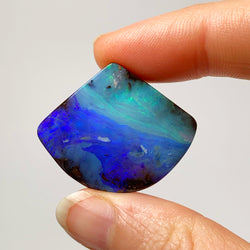 Australian Boulder Opal - 39.14 Ct large ocean coloured fan shape boulder opal - Broken River Mining