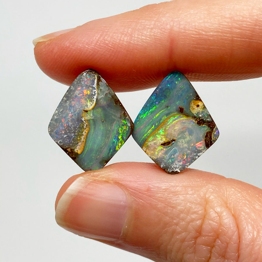 9.19 Ct 'picture stone' boulder opal pair