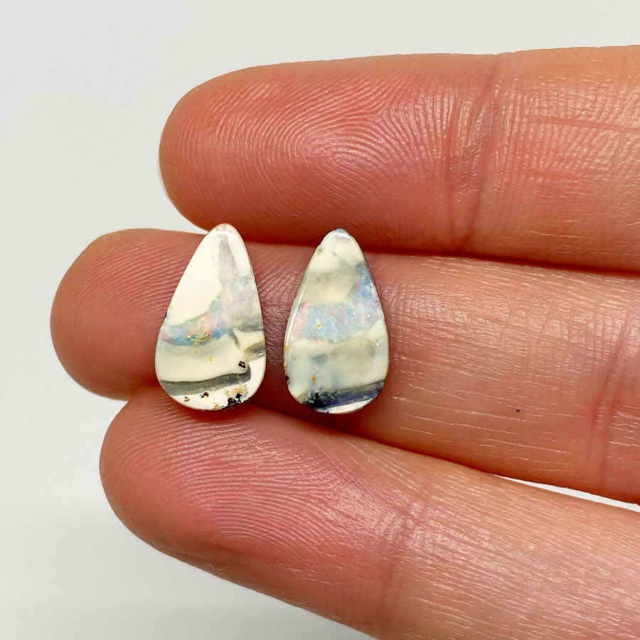 3.61 Ct teardrop boulder opal pair