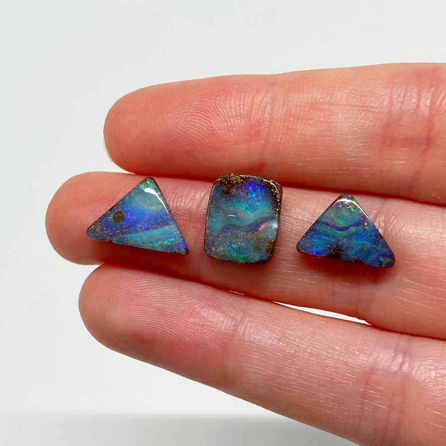 7.25 Ct set of three boulder opals