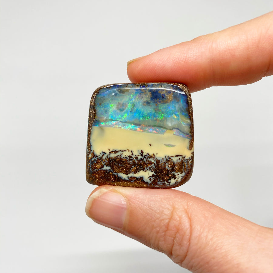 Australian Boulder Opal - 125 Ct small green and pink boulder opal specimen - Broken River Mining
