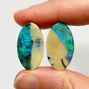 Australian Boulder Opal - 24.18 Ct green-blue and white boulder opal pair - Broken River Mining