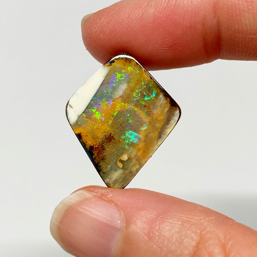 Australian Boulder Opal - 12.90 Ct diamond shape green and caramel boulder opal - Broken River Mining