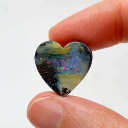 Australian Boulder Opal - 10.30 small pink and caramel heart shaped boulder opal - Broken River Mining