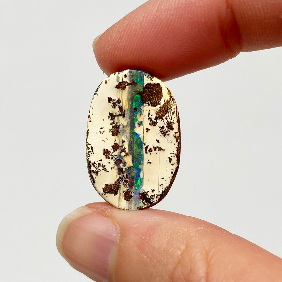 Australian Boulder Opal - 12.77 Ct green striped oval boulder opal - Broken River Mining