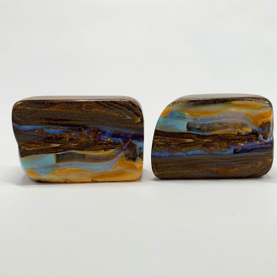 Australian Boulder Opal - 1015 Ct large green and caramel boulder opal 'split' specimen pair - Broken River Mining