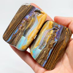 Australian Boulder Opal - 1015 Ct large green and caramel boulder opal split specimen - Broken River Mining