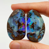Australian Boulder Opal - 177 Ct purple and green boulder opal split pair specimen - Broken River Mining