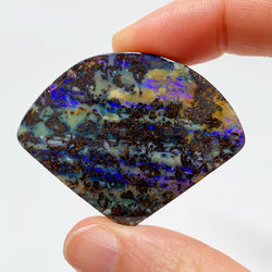 Australian Boulder Opal - 80.78 Ct large purple fan shaped boulder opal - Broken River Mining