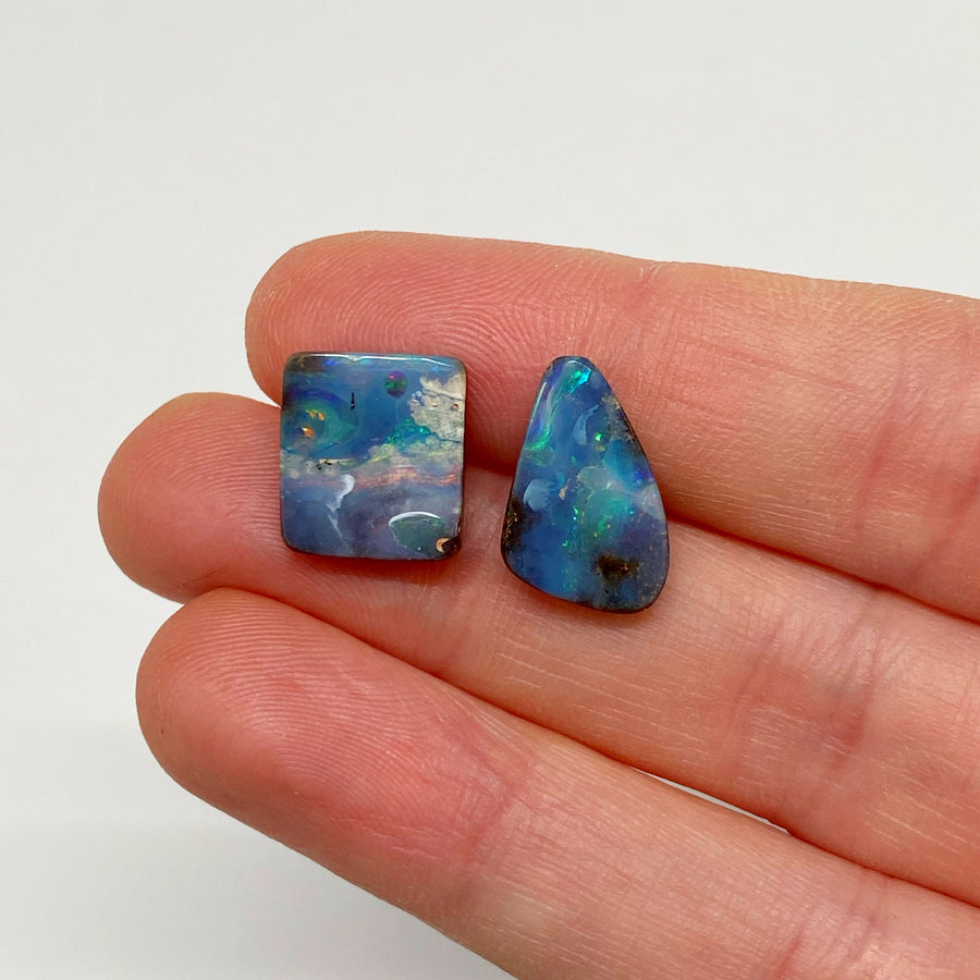 7.47 Ct set of two boulder opals