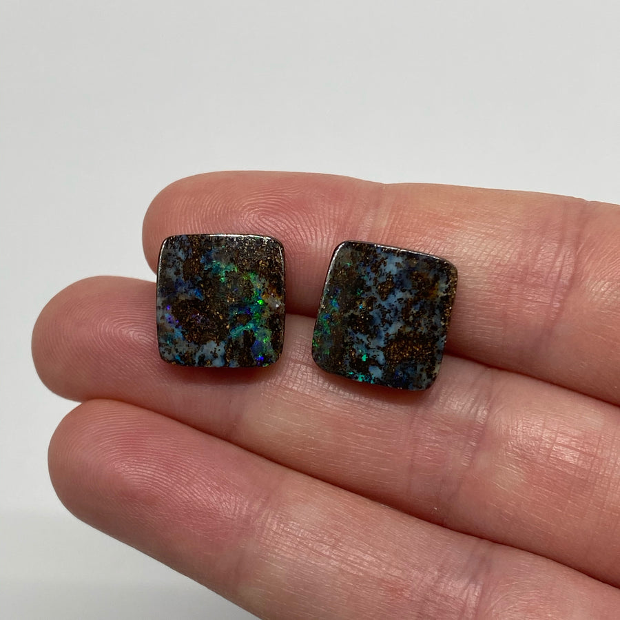 12.53 Ct matrix boulder opal pair