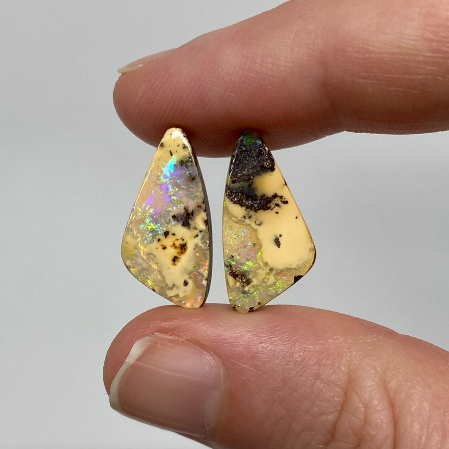 7.72 Ct free-form boulder opal pair