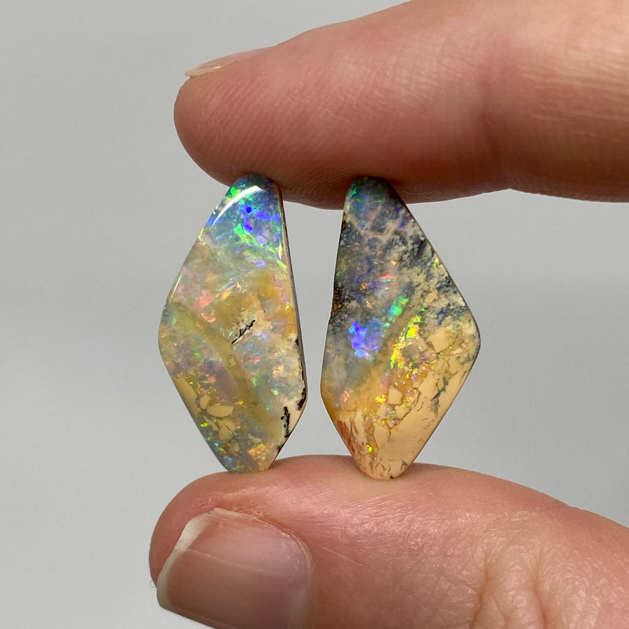 11.96 Ct free-form boulder opal pair