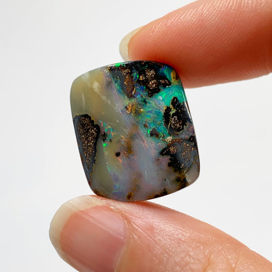 Australian Boulder Opal - 21.44 Ct curved rectangle boulder opal - Broken River Mining