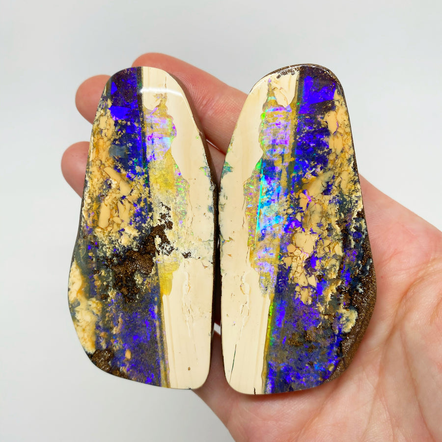 665 Ct large boulder opal 'split' specimen pair