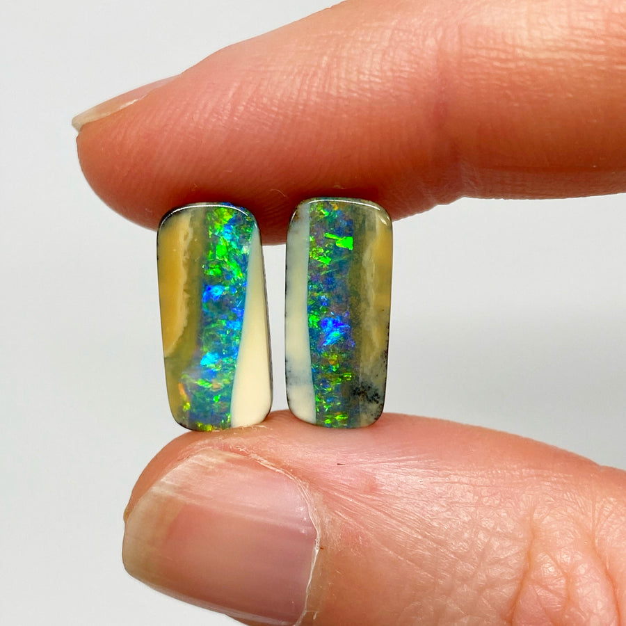 5.51 Ct small rectangle boulder opal pair