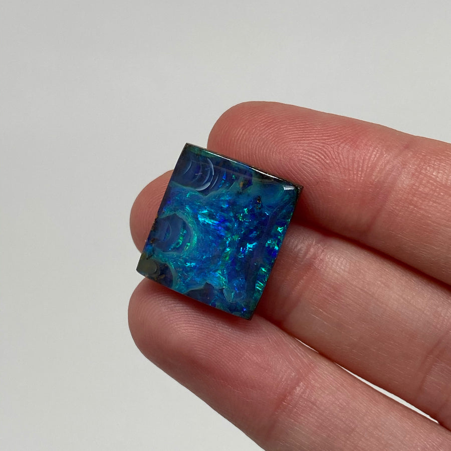13.34 Ct rectangle green-blue boulder opal