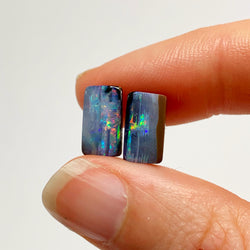 Australian Boulder Opal - 4.20 Ct colourful boulder opal pair - Broken River Mining