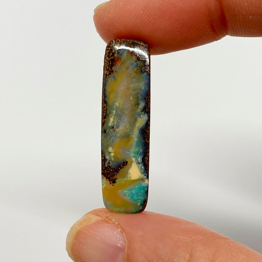 Australian Boulder Opal - 13.27 Ct long green and caramel boulder opal - Broken River Mining