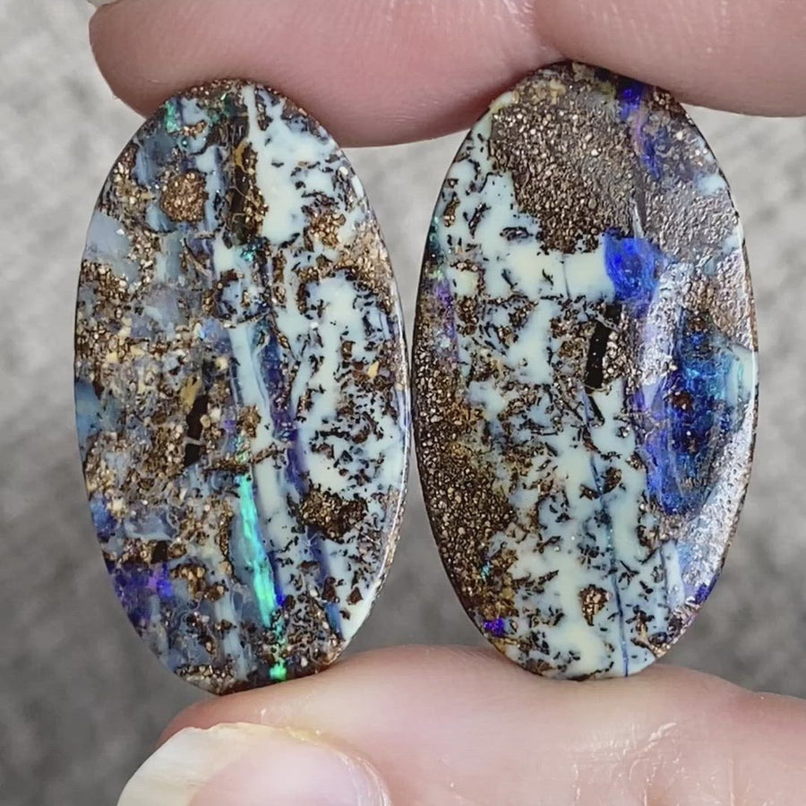 37.25 Ct large matrix boulder opal pair