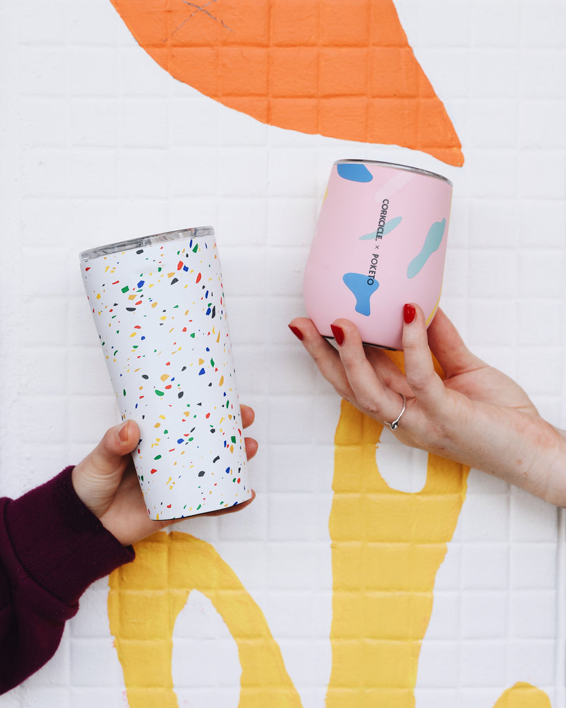 Corkcicle Poketo collaboration of stemless coffee cups and smoothie tumblers in colourful exclusive artistic graphic patterns