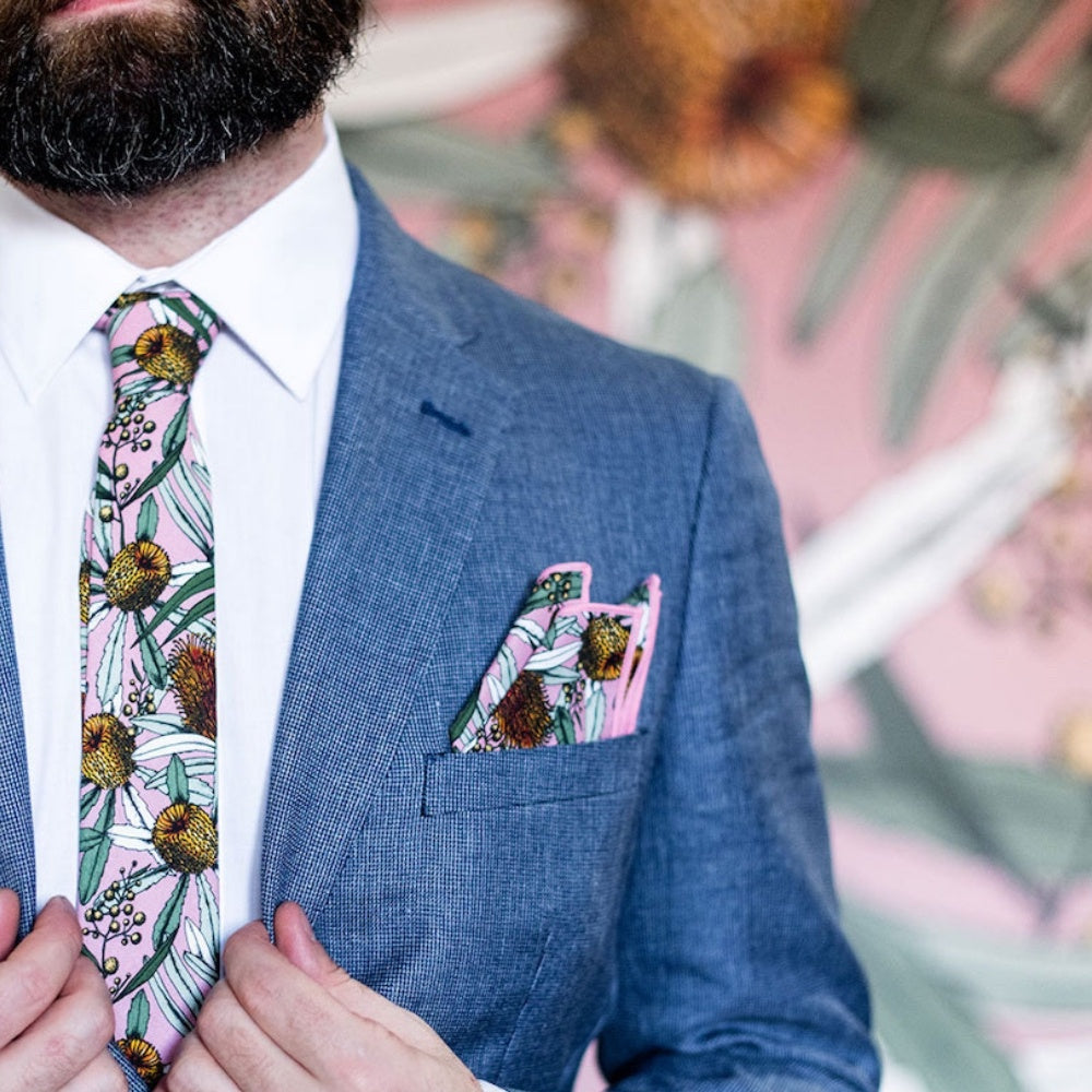 BANKSIA PINK POCKET SQUARE